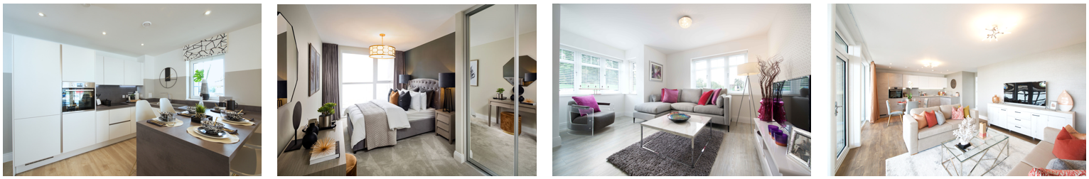Four images showing the kitchen bedroom, and living rooms in an Inland Homes development
