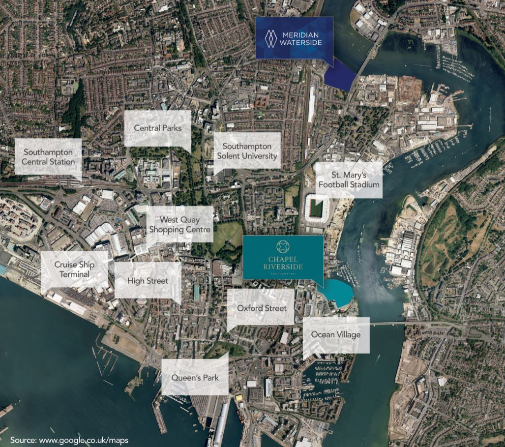 Aerial shot of Southampton showing the locations of Meridian Waterside and Chapel Riverside